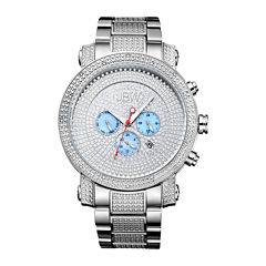 JBW Victor Mens Diamond- and Crystal-Accent Stainless Steel Watch JB-8102-B