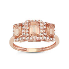 Simulated Morganite Quartz And 1/3 C.T. T.W.  Diamond 10K Rose Gold Ring
