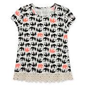 Arizona Short-Sleeve Crochet-Trim Top - Toddler Girls 2t-5t