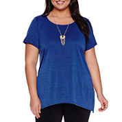 Alyx® Short-Sleeve Sharkbite Top with Necklace - Plus