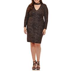 B. Darlin Long Sleeve Black Blush Choker Neck  Party Dress-Juniors Plus