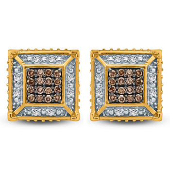 14 Ct Tw Genuine Multi Color Diamond 10k Gold 35mm Stud Earrings