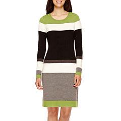 Jessica Howard Long-Sleeve Striped Sweater Dress - Petite