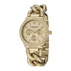 Stührling® Original Womens Crystal-Accent Gold-Tone Stainless Steel Chain Bracelet Watch