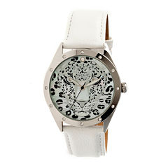 Bertha Alexandra Womens Mother Of Pearl Dial White Leather Strap Watch Bthbr4705