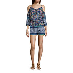 City Triangles® 3/4-Sleeve Cold-Shoulder Printed Lace-Up Romper - Juniors