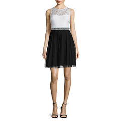 Speechless Sleeveless Two-Tone Embellished-Waist Fit-and-Flare Dress - Juniors