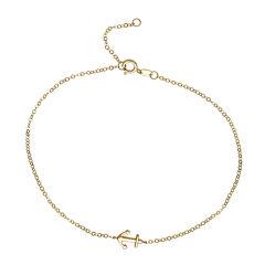 14K Yellow Gold Side Anchor Ankle Bracelet