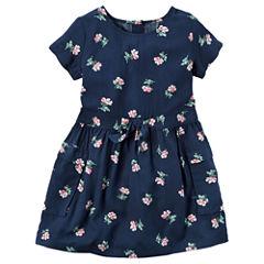 Carter's Short Sleeve Floral A-Line Dress - Preschool Girls