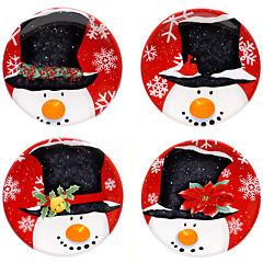 Certified International Top Hat Snowman Set of 4 Canapé Plates