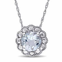 Womens 17 Inch Blue Aquamarine 10K Gold Link Necklace