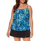 Jamaica Bay® Photo Leaf Triple-Tier Swim Top or Side-Slit Swim Skirt
