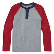 Arizona Long-Sleeve Camo Henley Tee - Boys 8-20 and Husky