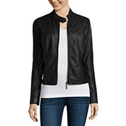 Jou Jou Center-Zip Multi-Zip Pleather Jacket - Juniors
