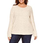 Liz Claiborne® Long-Sleeve Lurex Cable Crew Sweater - Plus