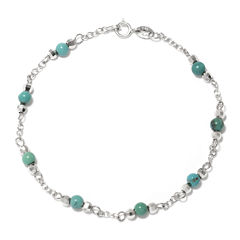 Enhanced Turquoise Round Stone Sterling Silver Station Bracelet