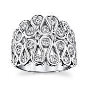 Sirena® 1¾ CT. T.W. Diamond 14K White Gold Swirl Dome Ring
