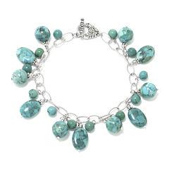 Enhanced Turquoise Stone Sterling Silver Bracelet