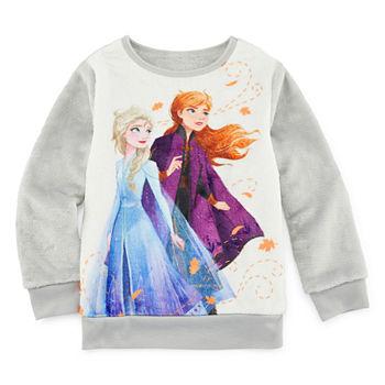 Disney Frozen Girls Crew Neck Long Sleeve Frozen Sweatshirt Toddler