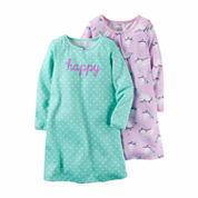 Carter's® 2-pk. Lavender Owl Print Long-Sleeve Gowns - Toddler Girls 2t-5t