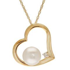 Womens Diamond Accent White Pearl 10K Gold Pendant Necklace