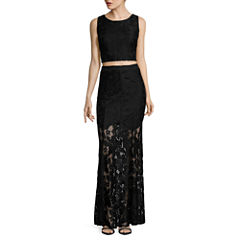 City Triangles® Sleeveless Lace Two-Piece Long Slim Dress - Juniors