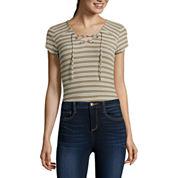 Self Esteem® Short-Sleeve Lace-Up Bodysuit - Juniors