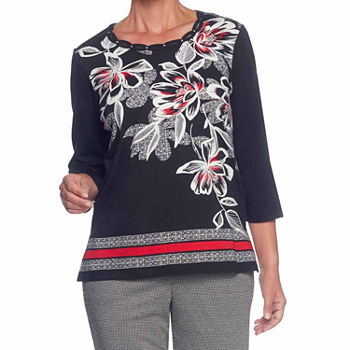 Alfred Dunner Talk Of The Town womens Crew Neck 34 Sleeve T shirt
