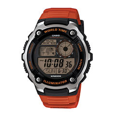 Casio® Illuminator Mens Orange Resin Strap Sport Watch AE2100W-4AV