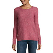 Liz Claiborne® Long-Sleeve Crewneck Sweater with Lurex