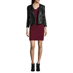Decree® V Neck Ponte Dress And Dc Moto Jacket
