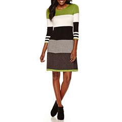 Jessica Howard 3/4 Sleeve Colorblock Sweater Dress