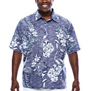 The Havanera Co.® Short-Sleeve Allover Tropical Print Shirt - Big & Tall