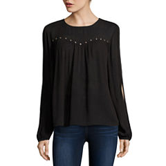 Arizona Split Sleeve Peasant Top - Juniors