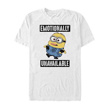 Slim Emotionally Unavailable Mens Crew Neck Short Sleeve Minons Graphic T shirt