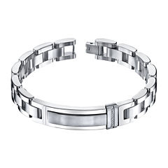 Mens 1/10 CT. T.W. Diamond Stainless Steel ID Bracelet