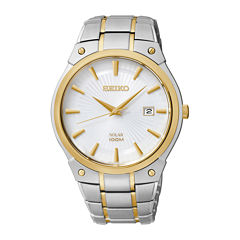 Seiko® Mens Two-Tone Stainless Steel Solar Watch SNE324