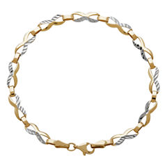 LIMITED QUANTITIES! 14K Two-Tone Gold Polished Diamond-Cut 4.69mm Link Station Bracelet
