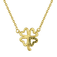 Womens Green Diamond Accent Gold Over Silver Pendant Necklace