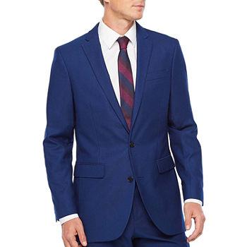 Jf Jferrar big And Tall Bright Blue Luster Striped Classic Fit Stretch Suit Jacket