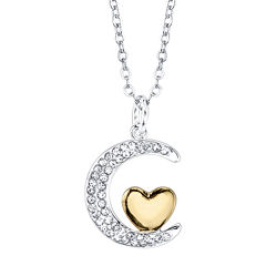 Crystal Sophistication™ Crystal Two-Tone Silver-Plated I Love You to the Moon and Back Pendant Necklace