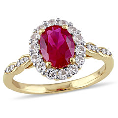 Lab-Created Red Ruby and Diamond Accent  Cocktail Ring in 14K Gold
