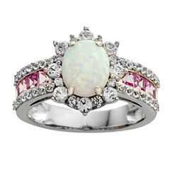 Lab-Created Opal, Pink & White Sapphire Sterling Silver Cocktail Ring