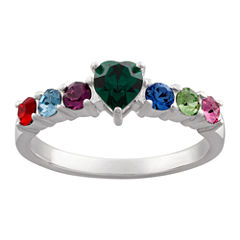 Personalized Silver Cubic Zirconia & Crystal Heart Birthstone Ring