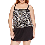 Azul by Maxine of Hollywood Pasiley Foil Bandeau Blouson Tankini or Skirted Bottom - Plus