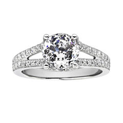 100 Facets by DiamonArt® Cubic Zirconia Split Shank Ring