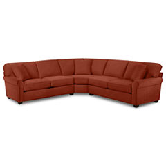 Fabric Possibilities Roll-Arm 3-pc. Left-Arm Loveseat Sectional with Sleeper