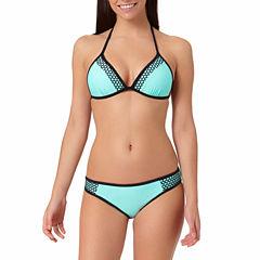 Arizona Colorblock Mesh Pushup Triangle Swim Top or Mesh Mint Hipster Bottoms