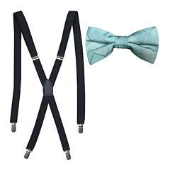 JF J. Ferrar® Tonal Grid Bow Tie and Suspender Set