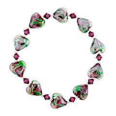 Dazzling Designs™ Dark Pink & Green Glass Heart Bead Bracelet